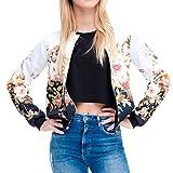 Bomber Jacket White Women Flower Print 3d Sexy Shirt Zipper Long Sleeve T Shirt