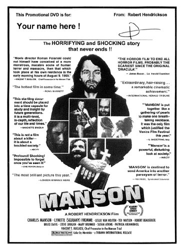 The original 1973 MANSON documentary, now on DVD and signed by the filmmaker Robert Hendrickson- EXCLUSIVE NEWS: New MANSON Book