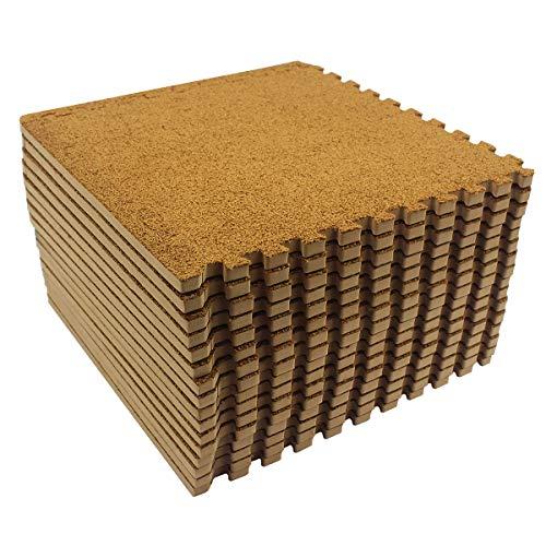 LaFamille Interlocking Foam Floor Mat 16 Tiles 16 sq.ft Puzzle Carpet Flooring Exercise Square Mats Gym,Playroom Floor Mats for Carpet 1'x1' (Brown)