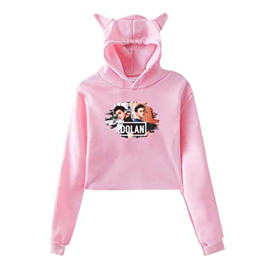 77e5055ee Women Dolan Twins Cute Music Band Long Sleeves Cat Ear Hoodie Crop Sweater  Sports Hoody Gift at Amazon Women's Clothing store: