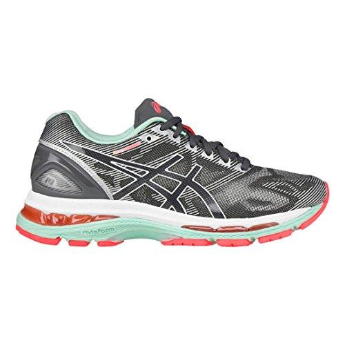 ASICS Women's Gel-Nimbus 19 Running Shoe, Carbon/White/Flash Coral, 9 M US