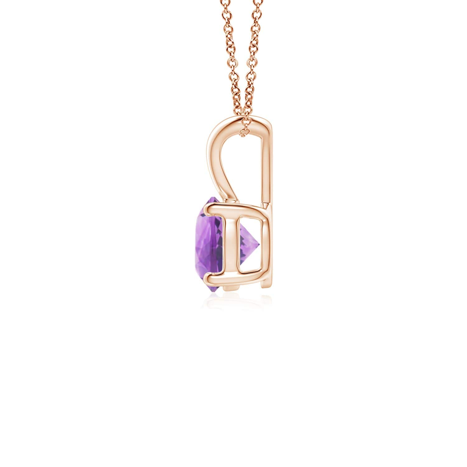 5mm Amethyst V-Bale Round Amethyst Solitaire Pendant