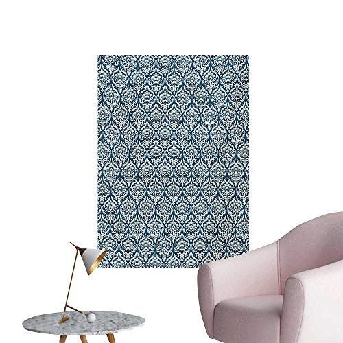 Anzhutwelve Victorian Photographic Wallpaper Fashionable Modern Country Style Abstract Illustrated Antiquity VintageNavy Blue Cream W20 xL28 Poster Print