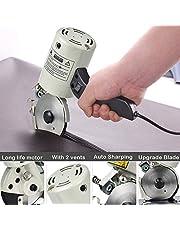 TOPQSC Cortador de tela eléctrica 90mm portátil máquina de corte de tela con cuchilla giratoria, cuchillo octogonal cortador eléctrico 250W tijeras eléctricas para acolchar, confección y costura