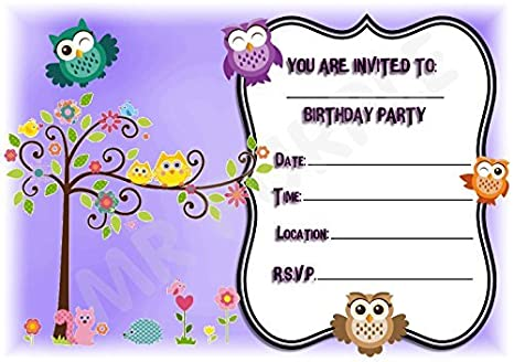 Pretty Owl Themed Birthday Party Invites Purple Design Party