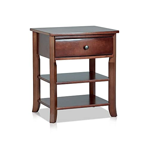 MUSEHOMEINC Classic Wood 3-Tier Nightstand with Storage Shelf and Drawer for Bedroom or Living Room Round Metal Knobs Heritage Collection Furniture End Table Side Table, Espresso Finish
