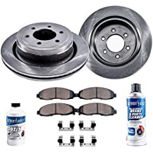 Detroit Axle - Pair (2) Front Disc Brake Rotors w/Ceramic Pads w/Hardware & Brake Cleaner & Fluid for 2002 2003 2004 2005 2006 Ford Expedition/Lincoln Navigator