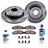 Detriot Axle - Pair (2) Front Disc Brake Rotors w/Ceramic Pads w/Hardware & Brake Cleaner & Fluid for 2006-2007 Buick Rainier 6Cyl./ Chevy SSR - [06-08 Trailblazer/GMC Envoy V6]