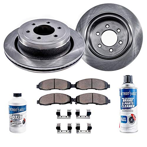 Detroit Axle - Pair (2) Front Disc Brake Rotors w/Ceramic Pads w/Hardware & Brake Cleaner & Fluid for 2006 2007 2008 2009 Buick Rainier - [Chevy Trailblazer/EXT] - GMC Envoy - [Saab 9-7X] - Saab Brake Hardware
