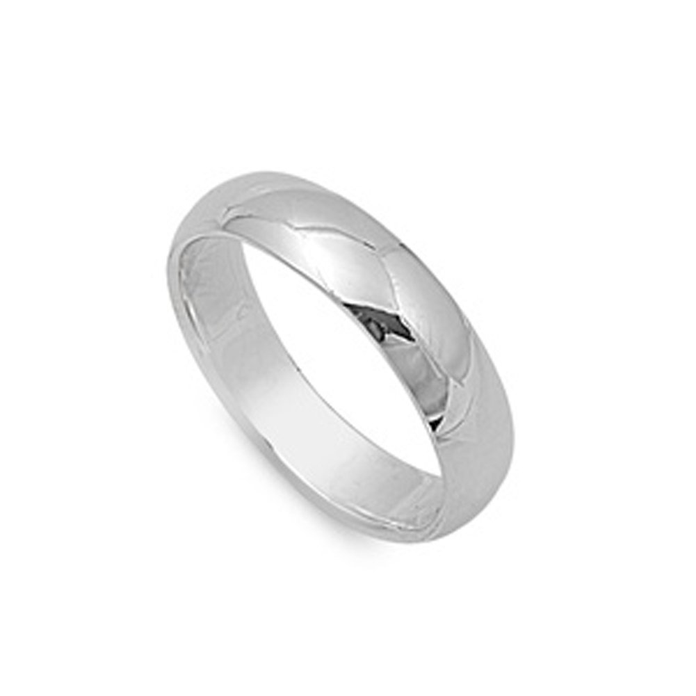 Sterling Silver Wedding 5mm Band Plain Comfort Fit Ring Solid 925 Sac Silver