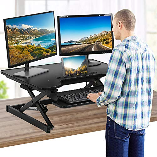 Standing Desk Stand Up Desk Adjustable Desk 32 inches Home Office Coverter Riser Computer Desk Workstation Table with Keyboard