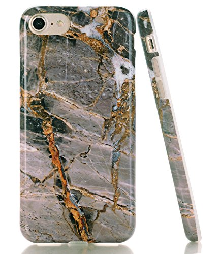 iPhone 8 Case, Light Grey/Beige Marble Design, BAISRKE Glossy Flexible Soft Silicone Bumper Shockproof Cover for Apple iPhone 8 (2017)/iPhone 7 (2016) 4.7 inch