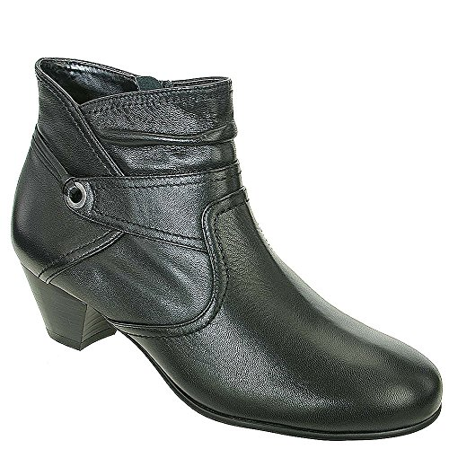David Tate Women's Campus Fashion Ankle Boots, Black Leather, 9 M (Calfskin Zip Boot)