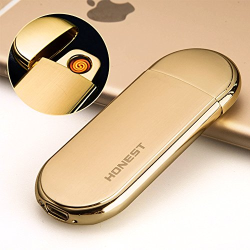 Stainless Steel Thin Gas Caps - Ultra-thin Electronic Coil Lighter Portably USB Rechargeable Stainless Steel Case Cigarette & Cigar Lighter Tungsten Wire Lighter with Shake Gravity Sensor Ignition (Gold)