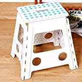 Livebest 15'' Sturdy Folding Step Stool Safe Enough Kitchen Garden Stool with Portable Carrying Handle.White