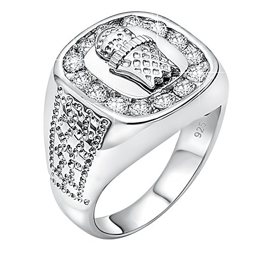 Men's Sterling Silver .925 Ring Featuring a Basketball and Hoop Surrounded by Fancy Channel-Set Cubic Zirconia (CZ) Stones , Platinum Plated. (12)