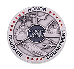 Navy Core Values Challenge Coin - United States Navy Challenge Coin - Amazing USN Navy Military Coin - Designed by Military Veterans! from Coins For Anything Inc