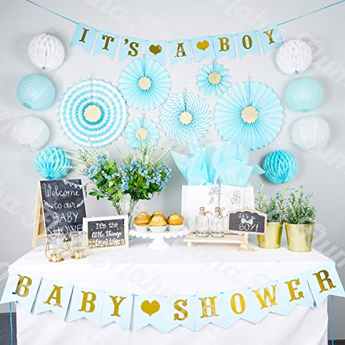 Boy Baby Shower Decorations for Boy | Its a Boy Baby Shower Party Supplies | 35pc Blue and Gold Baby Boy Shower Decorations | Baby Shower Boy | Baby Shower Decor | Elephant -