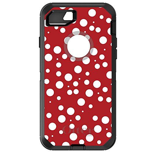 DistinctInk Case for iPhone 7 Plus / 8 Plus - OtterBox Defender Black Custom Case - Red White Bubbles Polka Dots - Polka Dot Pattern