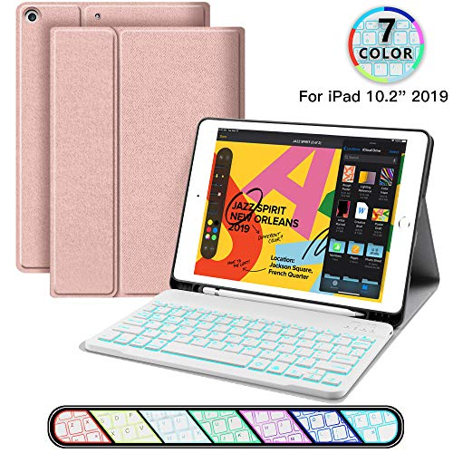 iPad Keyboard Case for iPad 10.2 2019 - JUQITECH Smart Case with Backlit Keyboard for iPad 7th Generation