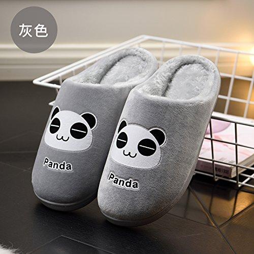 Fankou un paio di inverno home il cotone pantofole indoor cartoon grazioso pavimento in legno pantofole female ,42-43, grigio inverno.