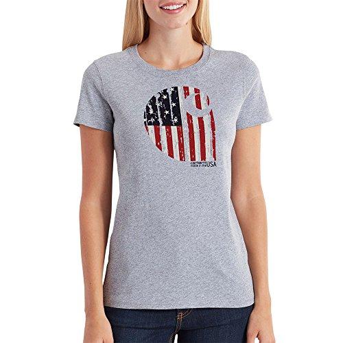 Carhartt Women's Lubbock Graphic American Brand C Short Sleeve T-Shirt, Heather Gray, - Lubbock In Women