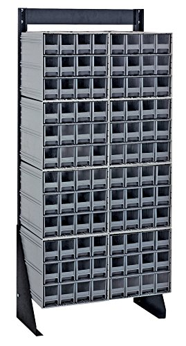 - Quantum QIC-148-122GY Interlocking Gray Storage Cabinet with Single Sided Floor Stand, 96 Drawers, 12-Inch by 23-1/2-Inch by 48-Inch