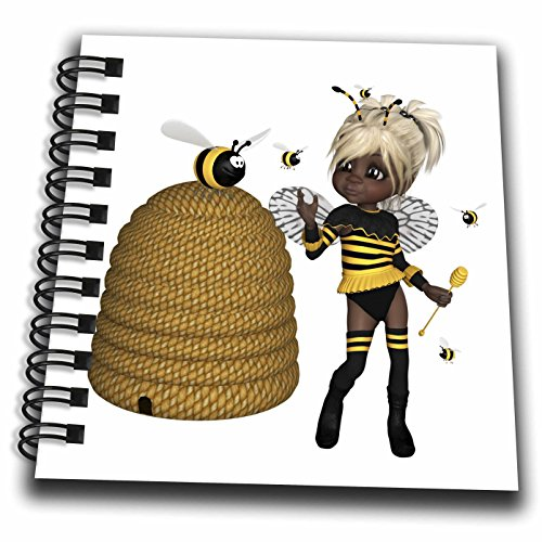 - 3dRose African American - African American Bumble Bee Fairy and Honey Pot Floral - Mini Notepad 4 x 4 inch (db_263242_3)