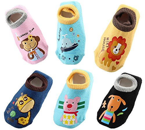 Toddler Socks Anti Skid Slip Socks Grip Socks For Toddler and Infants With 6 Packs By October Elf
