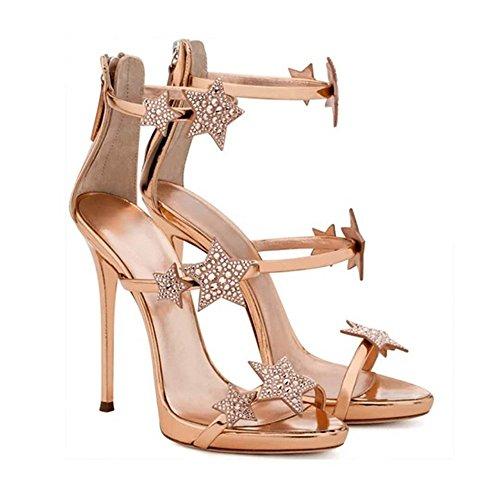 ZHANGYUSEN Delgado y Silver Star Moda High-Heeled Zapatos, Zapatos de Tacón Alto, con una Sola planteó la Zapata. Negro y 10cm de alto.
