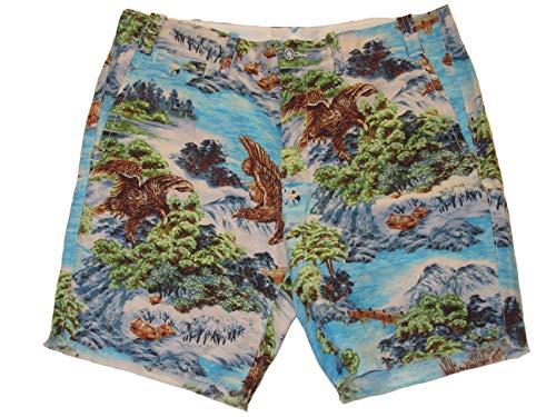 (Ralph Lauren Polo Mens Straight Fit Cutoff Linen Blend Shorts Blue (34))