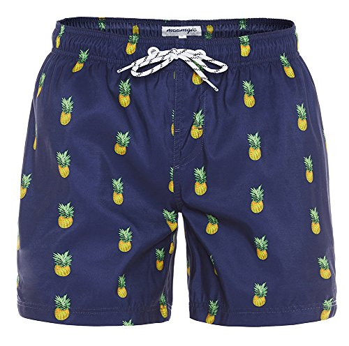 MaaMgic Mens Slim Fit Quick Dry Short Swim Trunks with Mesh Lining,Large(Waist:33