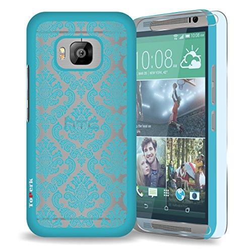 HTC One M9 / One Hima Case, ToPerk (TM) Imperial Lace Ultra Slim Hybrid Case + Free HD Screen Protector & Stylus Pen As Bundle Sale - Light Blue
