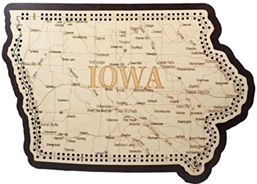 Iowa State Shape Road Map Cribbage Board by Unknown