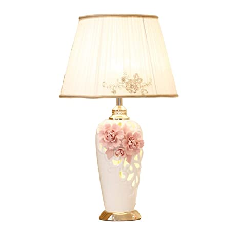 China Ceramic Table Lamps Pink Flower Cloth Desk Lamp for Boy Girl ...