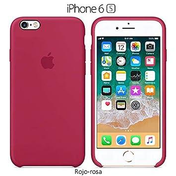 Funda Silicona para iPhone 6 y 6s Silicone Case, Textura Suave, Forro Microfibra (Rojo-Rosa)