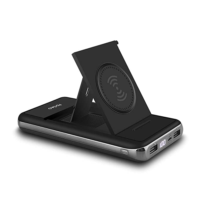 ed3eab31e6665e FDGAO Wireless Charger Power Bank 20000mah, Qi Portable Charger with LED  Digital Display and Foldable