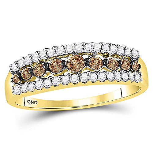 Chocolate Diamond Pave - Sonia Jewels Size 7-10k Yellow Gold Round Chocolate Brown Diamond Triple Row Band Ring (1/2 Cttw)