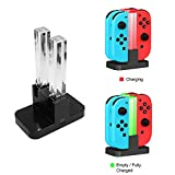 Joy-Con Power Charger for Nintendo Switch Joy-Con Controllers Charging Dock Stand 4-Controllers with light (Black) For Sale