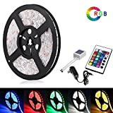 Waterproof IP65 Led Strip Lights Kit, 3528 16.4 Ft (5M) Color Changing LED Tape Light + 24keys IR Remote + 12V Power Supply, Lighting Strip Kit for Boats, Bathroom, Mirror, Ceiling and Outdoor