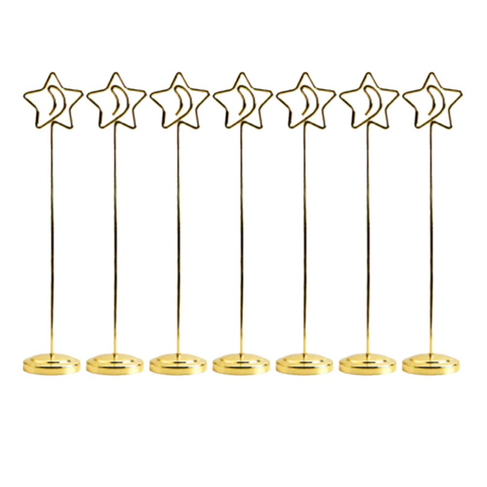 Vosarea Table Card Holders Stand for Wedding Party Office Baby Shower Paper Menu Note Seat Clips 7pcs 20cm (Golden Star Moon) by Vosarea