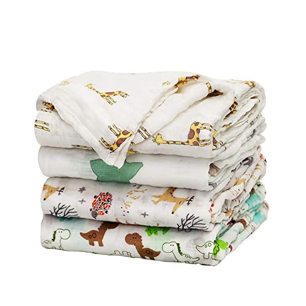 Baby Swaddle Blanket Upsimples Unisex Swaddle Wrap Soft Silky Bamboo Muslin Swaddle Blankets Neutral Receiving Blanket for Boys and Girls, 47 x 47 inches, Set of 4 – Fox/Elephant/Giraffe/Dinosaur
