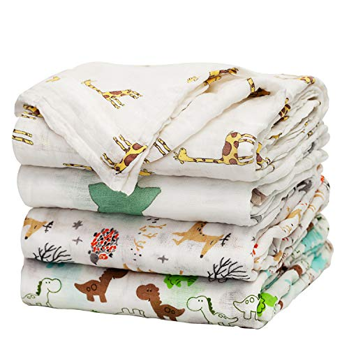Baby Swaddle Blanket Upsimples Unisex Swaddle Wrap Soft Silky Bamboo Muslin Swaddle Blankets Neutral Receiving Blanket for Boys and Girls, 47 x 47 inches, Set of 4 - Fox/Elephant/Giraffe/Dinosaur ()
