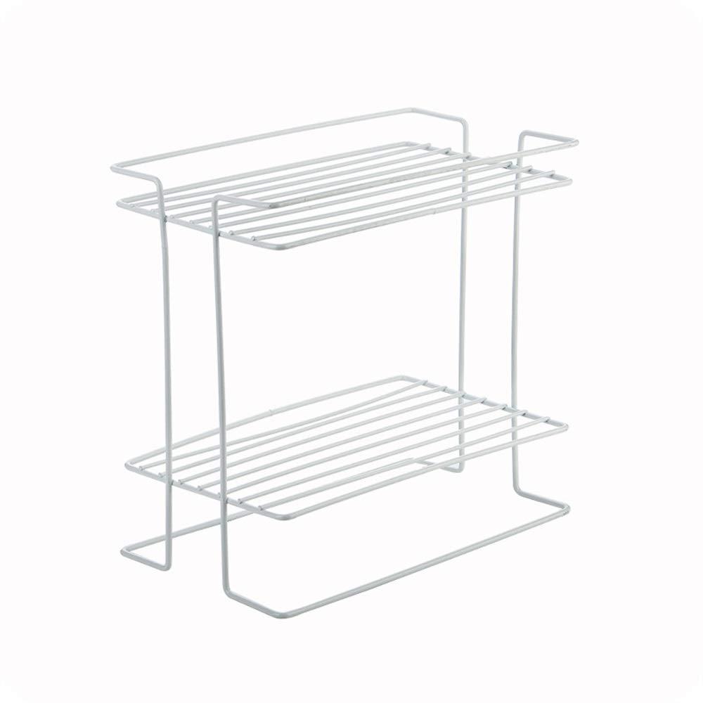 YChoice Rack Decor Japanese-Style Spice Rack Kitchen Supplies Double Wrought Iron Condiment Storage Rack countertop Shelf Home Landing (Color : White)