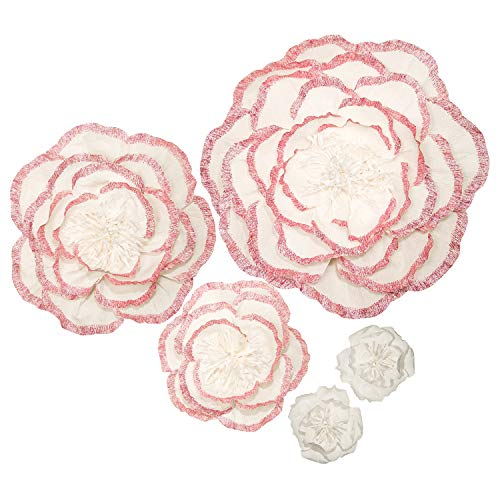 Handcrafted Flowers,Crepe Paper Flowers,Large Paper Flowers,for Baby Nursery Home Decor,Baby Shower,Nursery Wall,Wedding Backdrop,Wall Decor,Archway Decor(Pink Flash Powder Edge Flowers Set of 5) from Memory Journey
