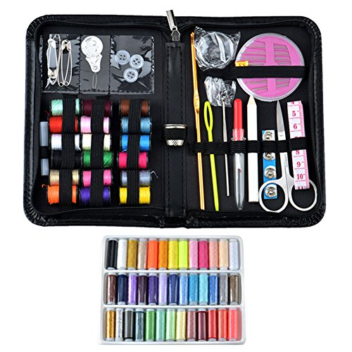 PULNDA Quality Premium Sewing Kit for Home Travel Camping Emergency Useful Sewing Supplies with 18 Colored Threads (With Extra 39 Quality Long Random Colored Threads)