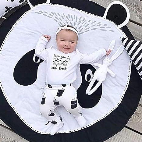 Panda Tapis éveil Jeu Bébé Gris Coton Rond Animaux Moquette Enfant ...