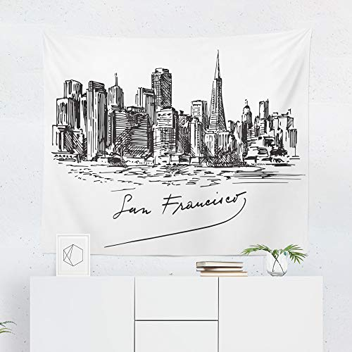 (San Francisco Tapestry Wall Hanging California City Sketch Drawing Cityscape Tapestries Dorm Room Bedroom Decor Art - Printed in the USA - Small to Giant Sizes)