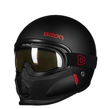 JINWEI Motocicleta Casco Retro Harley Masculino Y Femenino Combinación De Personalidad Medio Casco Verano con Gafas
