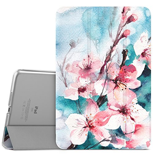 MoKo iPad Mini 4 Case - Slim Lightweight Shell Stand Cover with Translucent Frosted Back Protector for iPad Mini 4 7.9 2015 Release Tablet, Peach Blossom (with Auto Wake / Sleep)